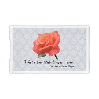 Bandeja De Acrílico Rosa do rosa do pêssego com os pingos de chuva no