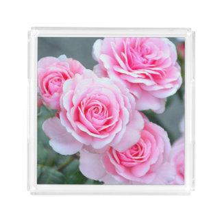 Bandeja De Acrílico Rosas cor-de-rosa