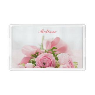 Bandeja De Acrílico Rosas cor-de-rosa bonitos