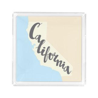 Bandeja De Acrílico Rotulação da escova de Califórnia com mapa da