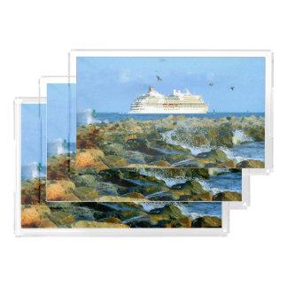 Bandeja De Acrílico Seascape com navio de cruzeiros