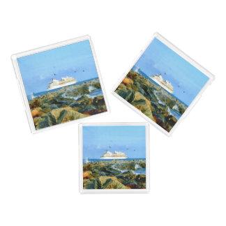 Bandeja De Acrílico Seascape com navio de cruzeiros luxuoso
