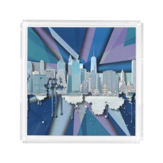 Bandeja De Acrílico Skyline | 3D azul da Nova Iorque