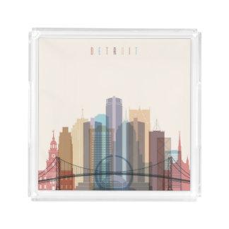 Bandeja De Acrílico Skyline da cidade de Detroit, Michigan |