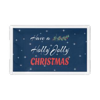 Bandeja De Acrílico Tenha um Natal alegre do azevinho