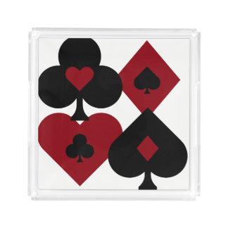 Bandeja De Acrílico Ternos vermelhos & pretos da plataforma de cartão