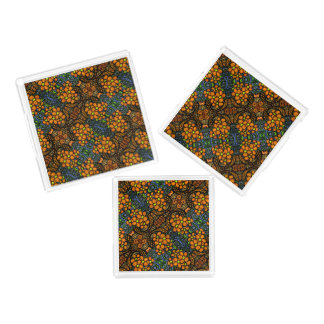 Bandeja De Acrílico Teste padrão alaranjado floral lunático