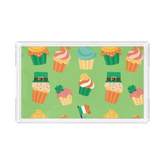 Bandeja De Acrílico Teste padrão alaranjado verde engraçado bonito do
