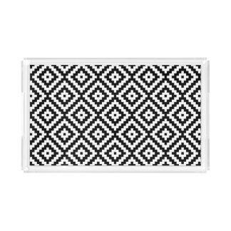 Bandeja De Acrílico Teste padrão asteca do bloco do símbolo preto &