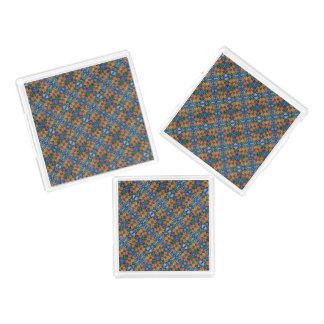 Bandeja De Acrílico Teste padrão azul e alaranjado floral lunático