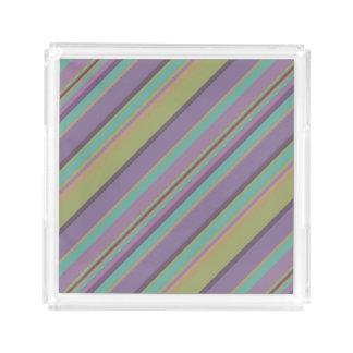 Bandeja De Acrílico Teste padrão colorido na moda das listras