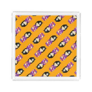 Bandeja De Acrílico Teste padrão da pintura da aguarela de Kokeshi