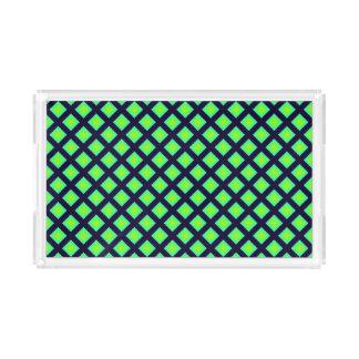 Bandeja De Acrílico Teste padrão da xadrez do verde e dos azuis