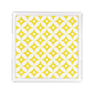 Bandeja De Acrílico Teste padrão de bolinhas amarelo e branco moderno