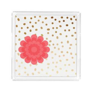 Bandeja De Acrílico teste padrão de bolinhas cor-de-rosa feminino da