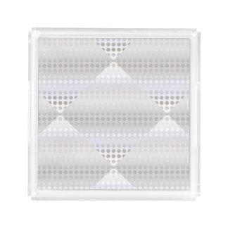 Bandeja De Acrílico Teste padrão de bolinhas de prata do falso à moda