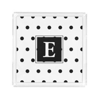 Bandeja De Acrílico Teste padrão de bolinhas preto e branco do
