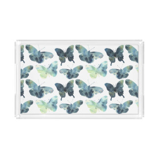 Bandeja De Acrílico Teste padrão de borboletas azul verde artístico da