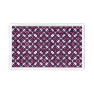 Bandeja De Acrílico Teste padrão de flor abstrato cor-de-rosa
