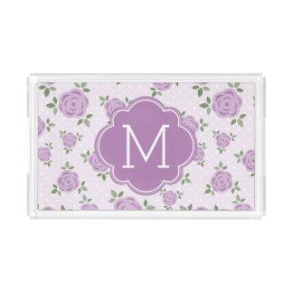 Bandeja De Acrílico Teste padrão de flores da lavanda e monograma