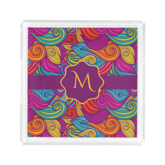 Bandeja De Acrílico Teste padrão de onda colorido retro de Swirly do