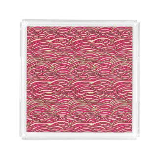 Bandeja De Acrílico Teste padrão de ondas abstrato cor-de-rosa.