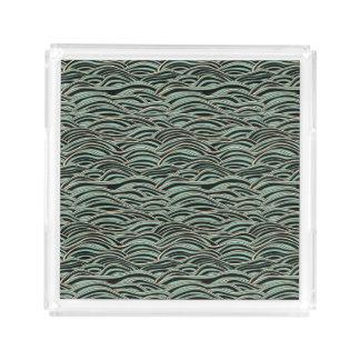 Bandeja De Acrílico Teste padrão de ondas abstrato verde. Textura do