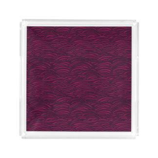 Bandeja De Acrílico Teste padrão de ondas roxo. Textura do mar