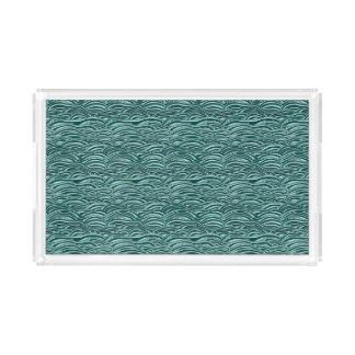 Bandeja De Acrílico Teste padrão de ondas verde e azul. Textura do mar
