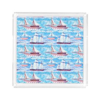 Bandeja De Acrílico Teste padrão dos navios de navigação da aguarela
