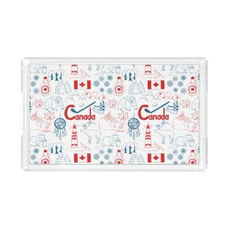 Bandeja De Acrílico Teste padrão dos símbolos de Canadá  