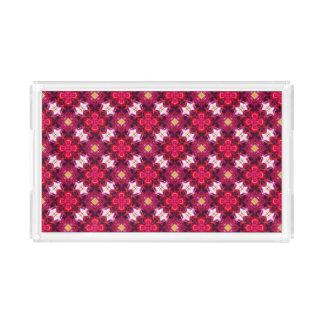 Bandeja De Acrílico Teste padrão floral abstrato do vermelho