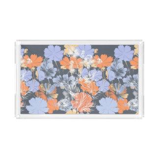 Bandeja De Acrílico Teste padrão floral alaranjado violeta cinzento do