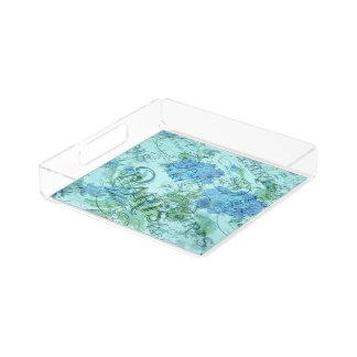 Bandeja De Acrílico Teste padrão floral azul do carimbo postal de