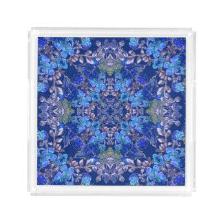 Bandeja De Acrílico Teste padrão floral da aguarela do lux lunático à