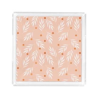 Bandeja De Acrílico Teste padrão floral das folhas do rosa moderno do
