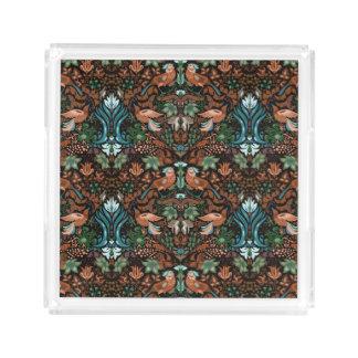 Bandeja De Acrílico Teste padrão floral luxuoso do lux do pássaro do