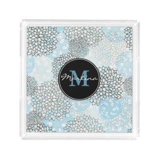 Bandeja De Acrílico Teste padrão floral na moda moderno personalizado