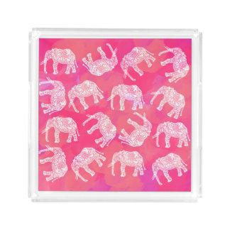 Bandeja De Acrílico teste padrão floral tribal colorido cor-de-rosa