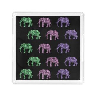 Bandeja De Acrílico teste padrão floral tribal colorido do elefante do