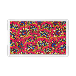 Bandeja De Acrílico Teste padrão floral vibrante vermelho asiático