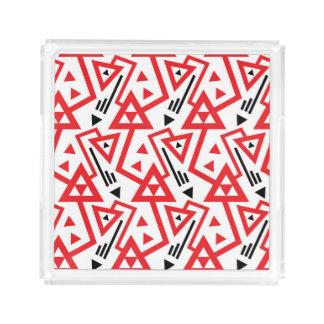 Bandeja De Acrílico Teste padrão geométrico vermelho e preto brilhante