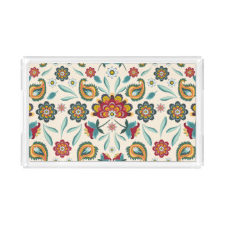Bandeja De Acrílico Teste padrão indonésio amarelo floral e das