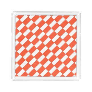 Bandeja De Acrílico Teste padrão retro dos retângulos alaranjados e