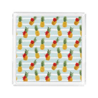 Bandeja De Acrílico Teste padrão sem emenda do abacaxi havaiano do
