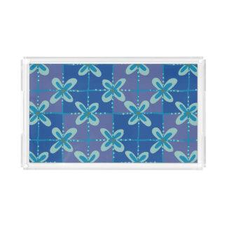 Bandeja De Acrílico Teste padrão sem emenda do batik floral azul da