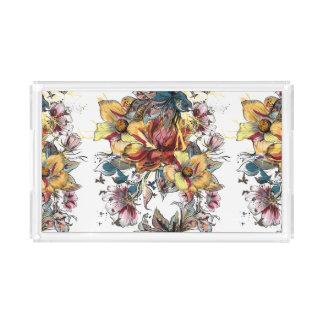Bandeja De Acrílico Teste padrão tirado realístico do buquê floral