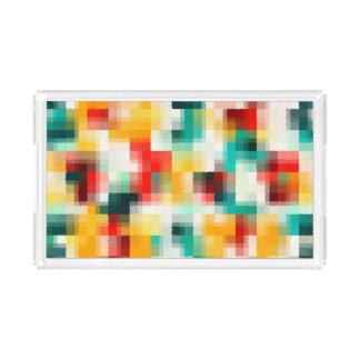 Bandeja De Acrílico Teste padrão vermelho do abstrato do branco do