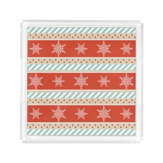 Bandeja De Acrílico Teste padrão vermelho dos flocos de neve da