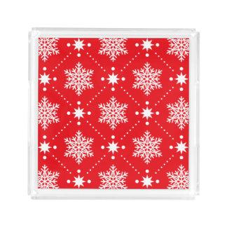 Bandeja De Acrílico Teste padrão vermelho e branco clássico do Natal